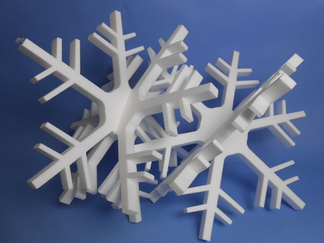 Polystyrene Snow Flakes Large 3D Set of 2